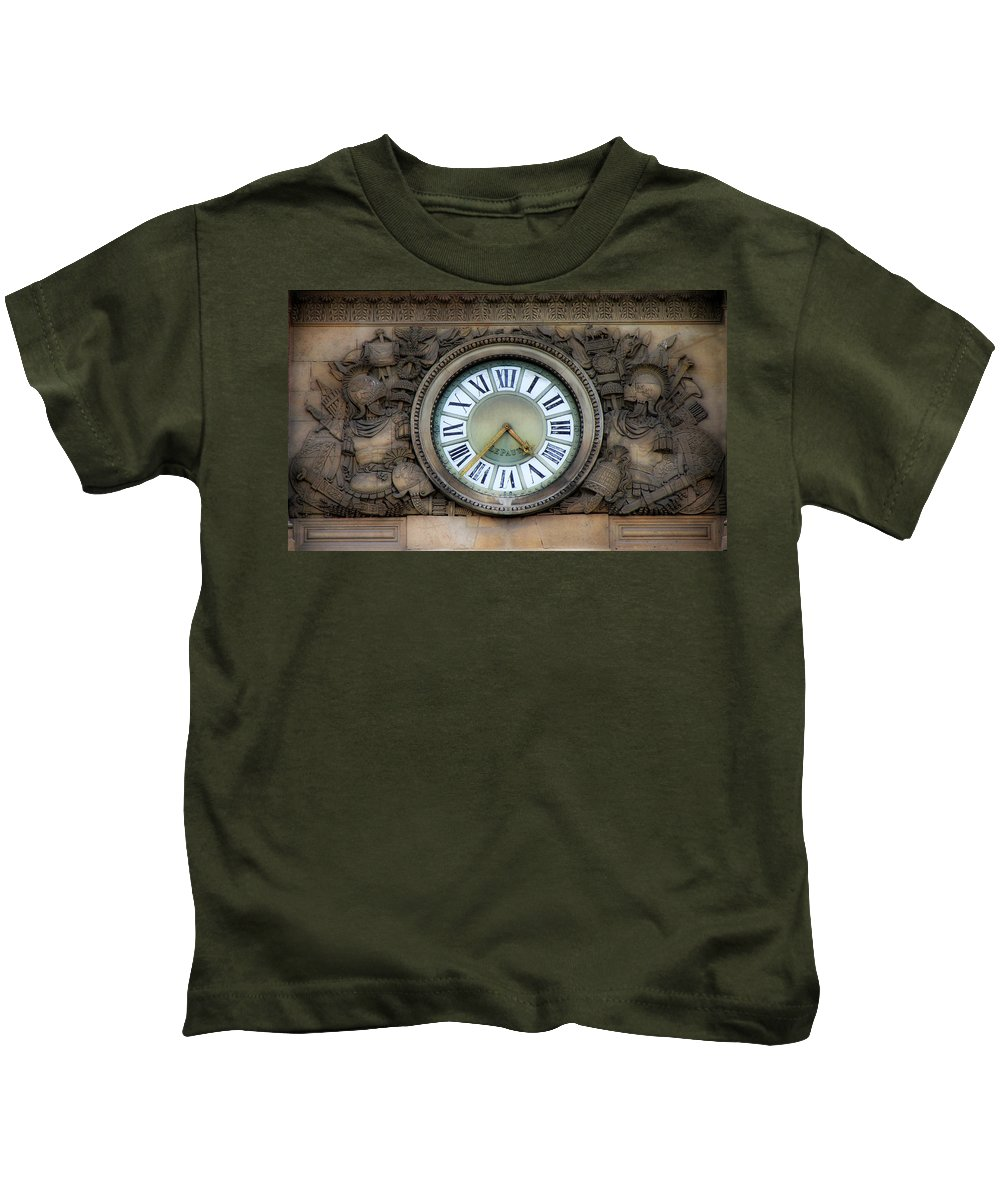 Paris Kids T-Shirt featuring the photograph Paris Clocks 1 by Andrew Fare
