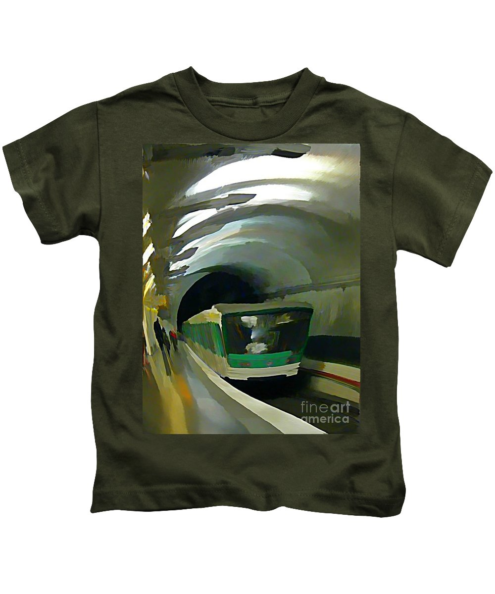 Subway Kids T-Shirt featuring the painting Paris Train In Fisheye Perspective by John Malone