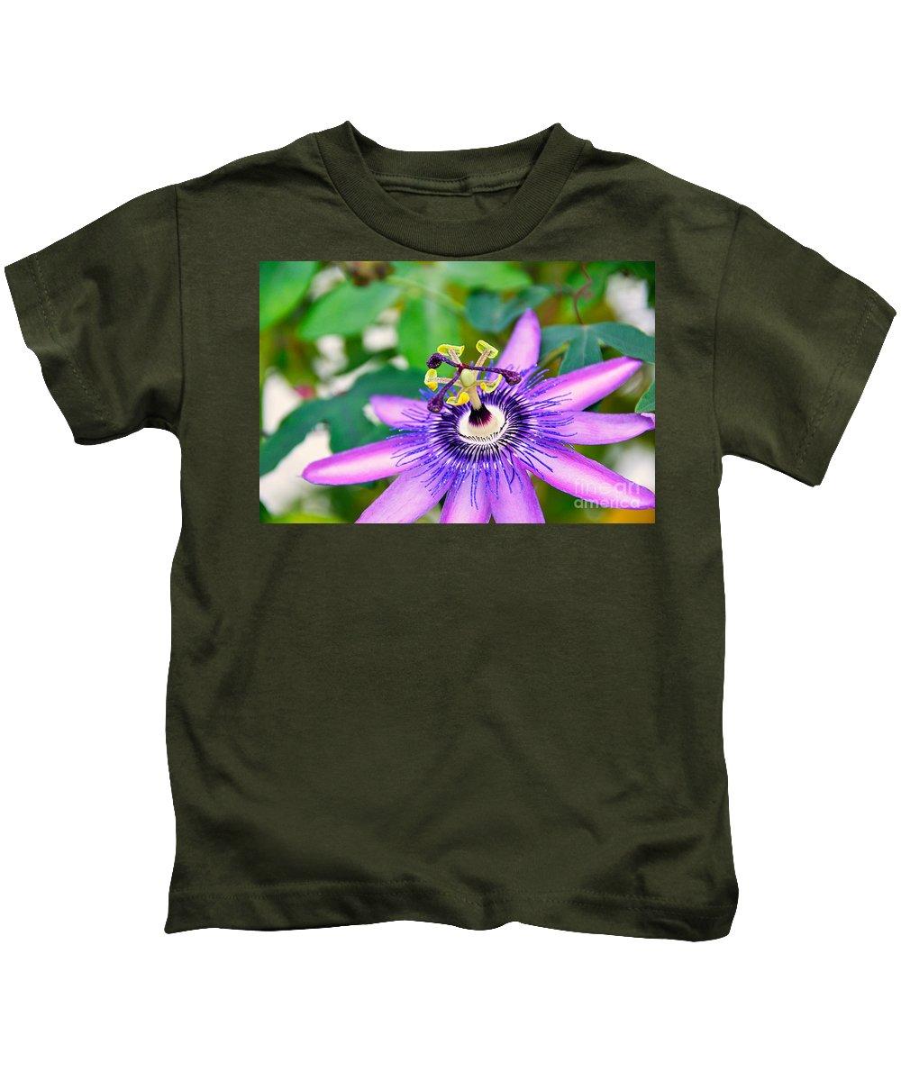 David Lawson Photography Kids T-Shirt featuring the photograph Passion Flower by David Lawson