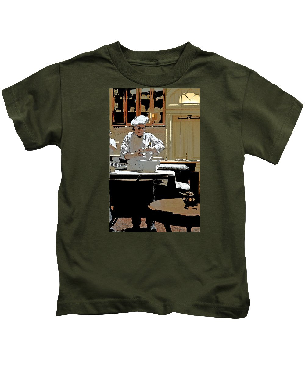 Female Kids T-Shirt featuring the photograph Female Austrian Pastry Chef by Norman Pogson