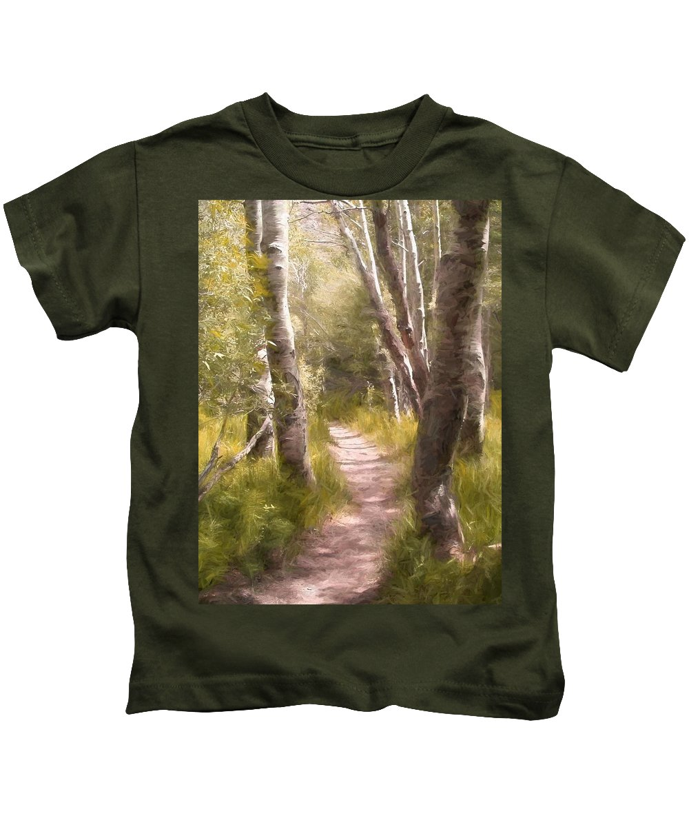 Woods Kids T-Shirt featuring the photograph Path 1 by Pamela Cooper
