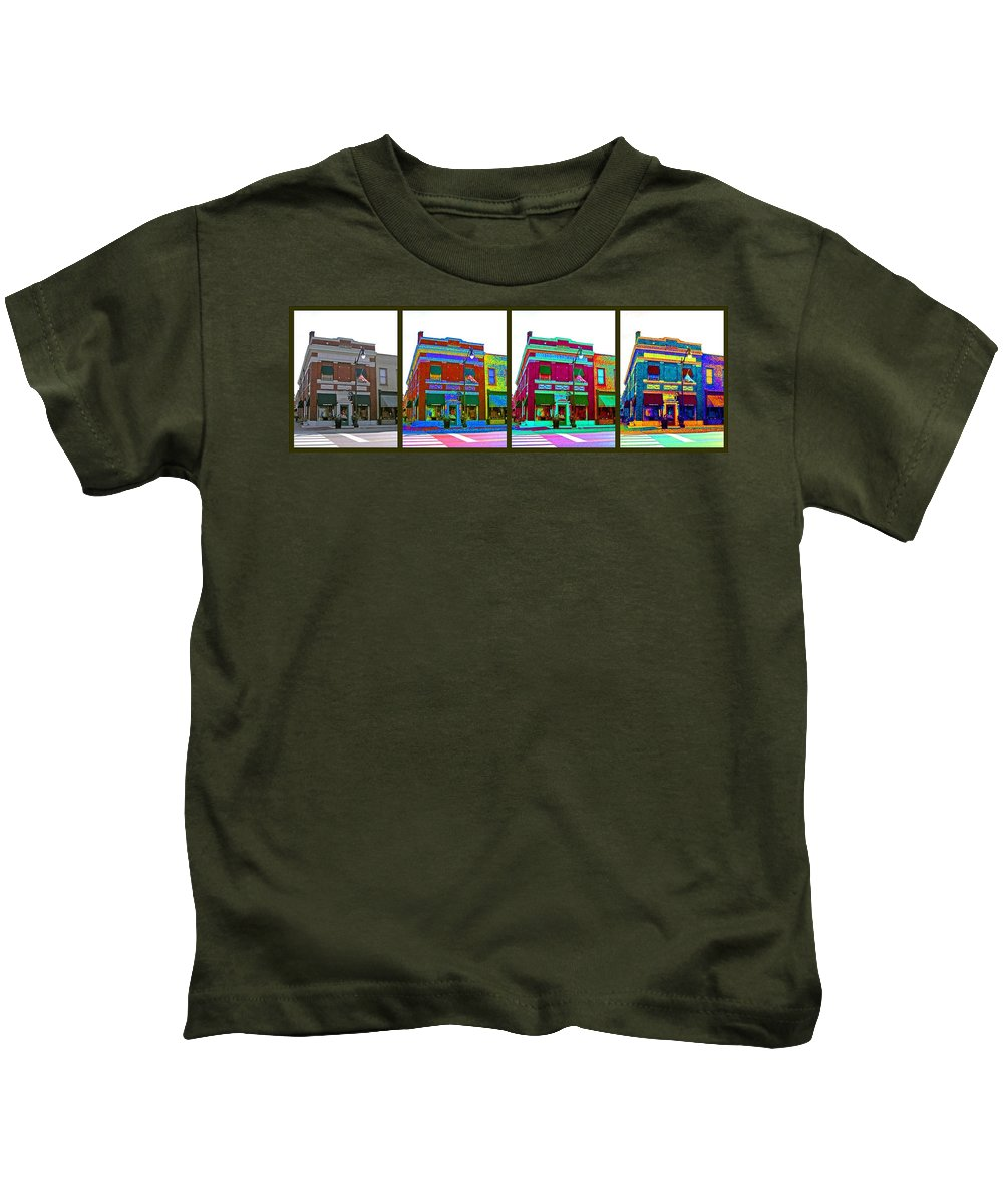 Computer Graphics Kids T-Shirt featuring the photograph Peacock On Third by Marian Bell