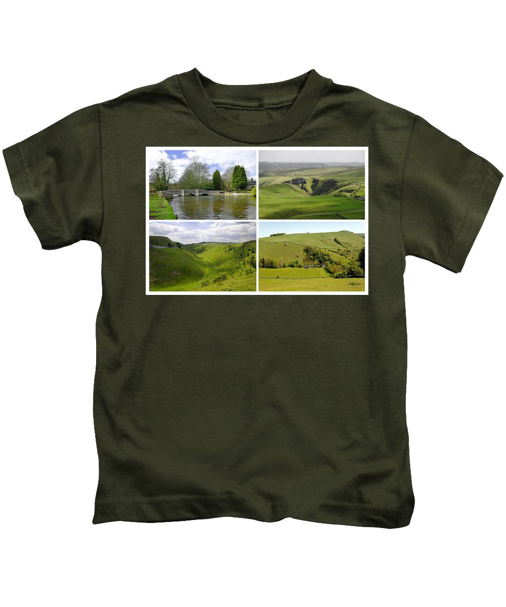 Europe Kids T-Shirt featuring the photograph Peak District Collage 01-plain by Rod Johnson