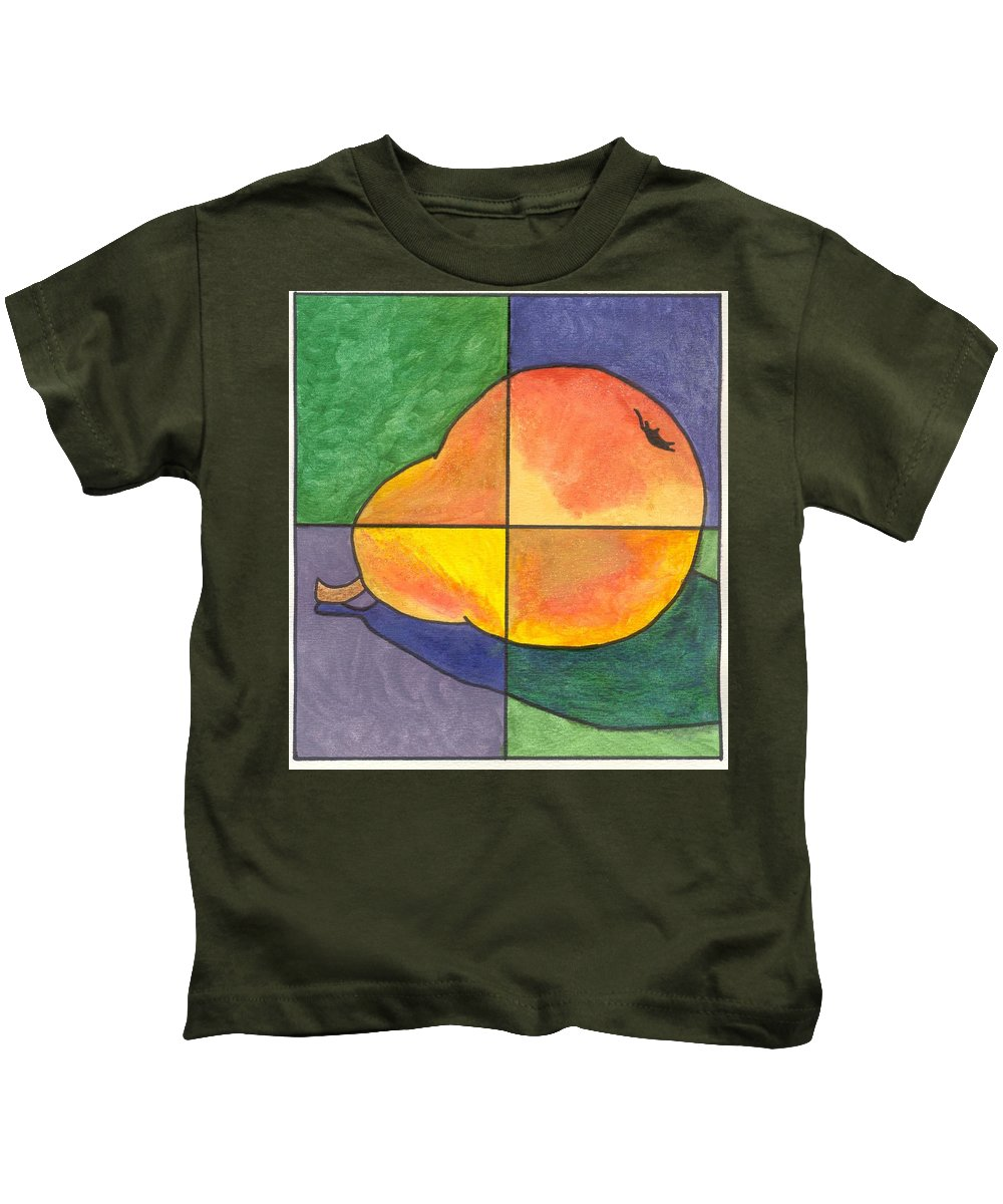 Pear Kids T-Shirt featuring the painting Pear II by Micah Guenther