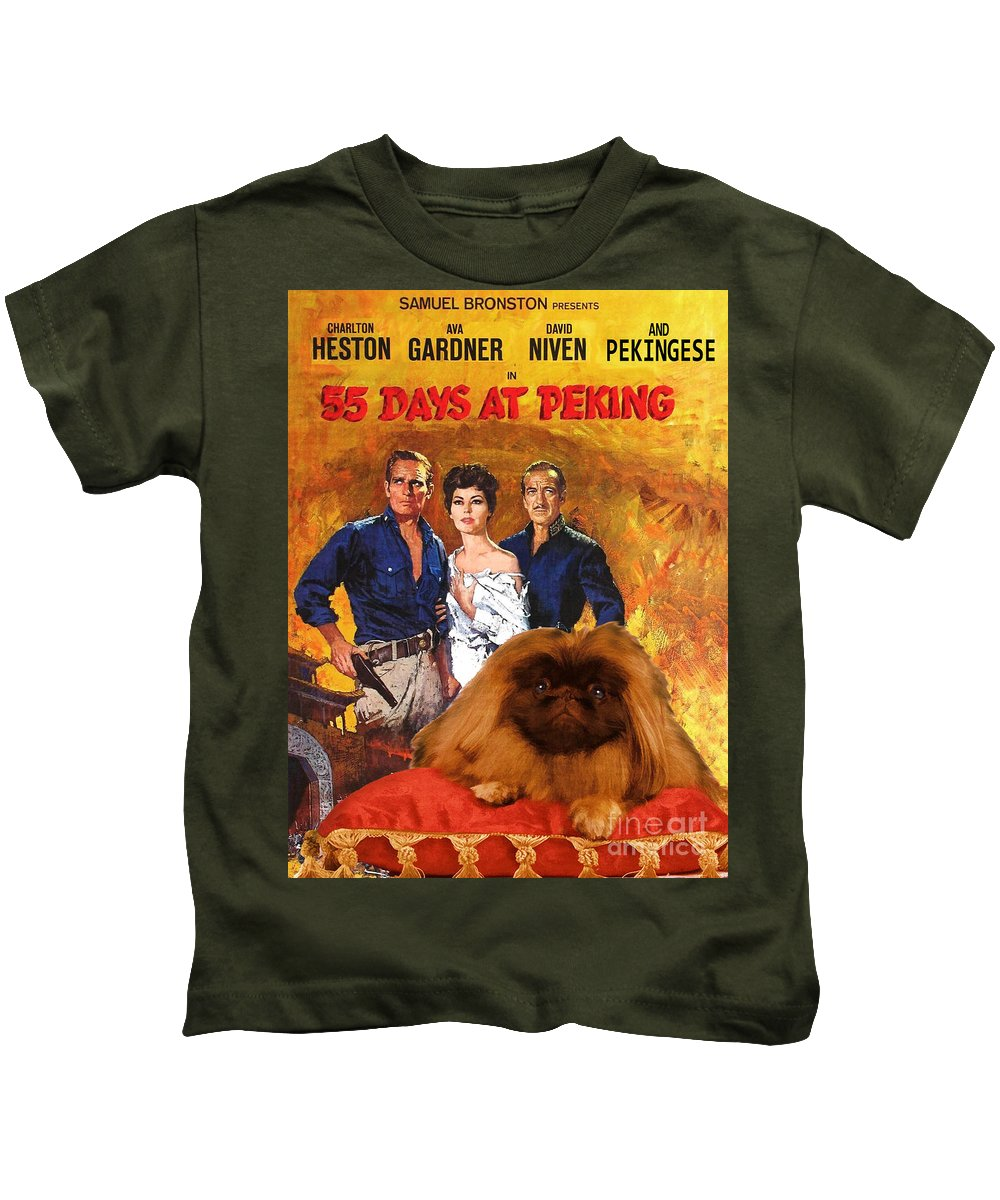 Dog Kids T-Shirt featuring the painting Pekingese Art - 55 Days In Peking Movie Poster by Sandra Sij