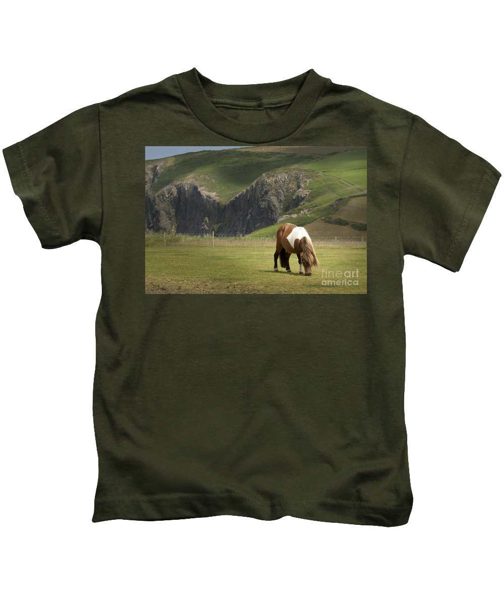 Pony Kids T-Shirt featuring the photograph Pembrokeshire by Angel Ciesniarska