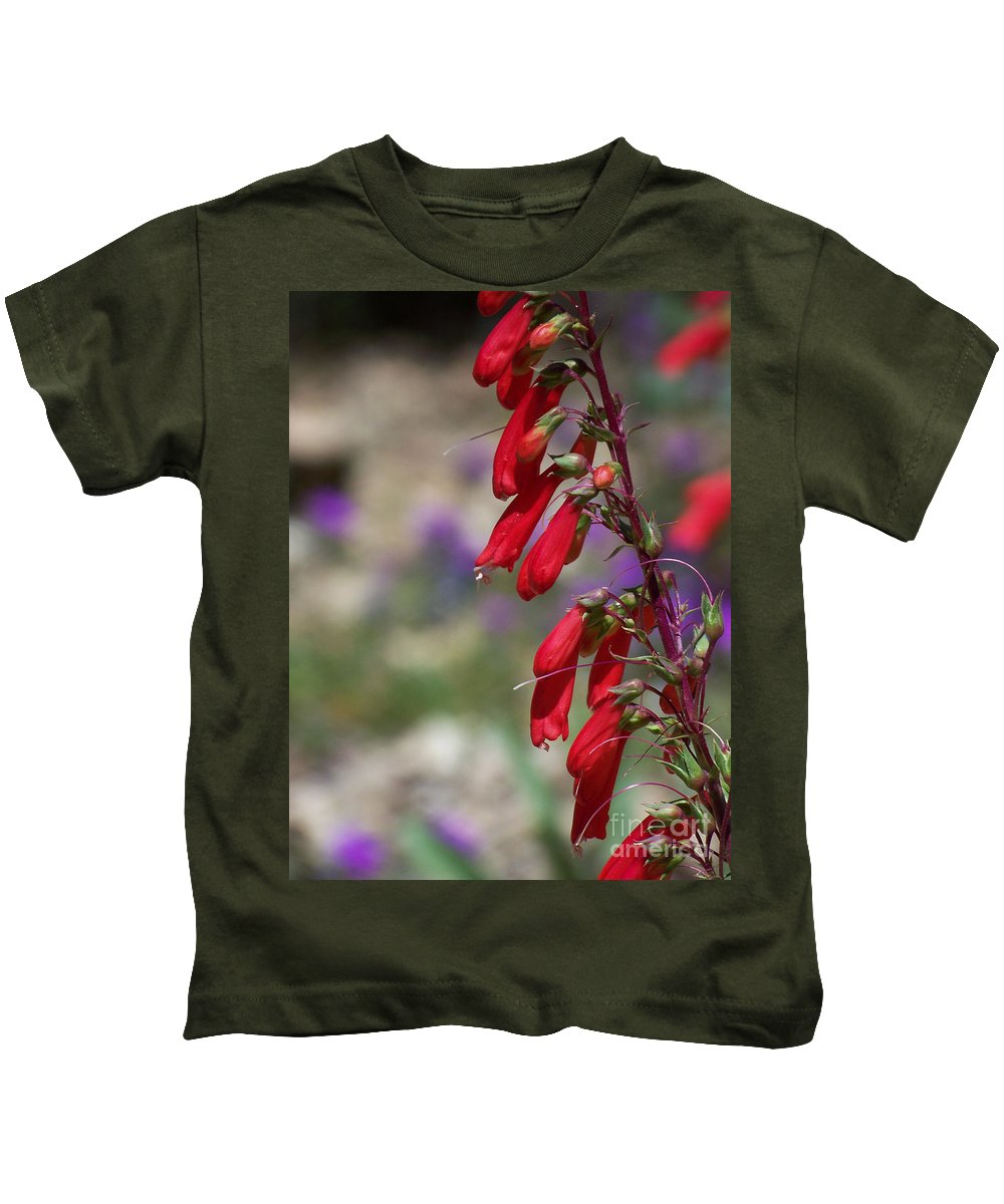 Flowers Kids T-Shirt featuring the photograph Penstemon by Kathy McClure