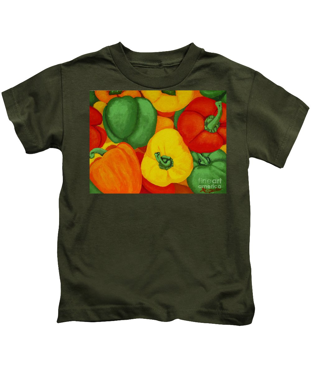 Peppers Kids T-Shirt featuring the painting Peppers by Anthony Dunphy