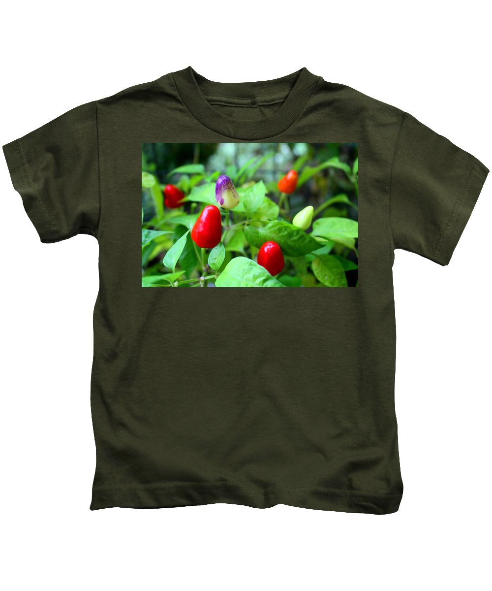 Pepper Kids T-Shirt featuring the photograph Peppers by Kathryn Meyer