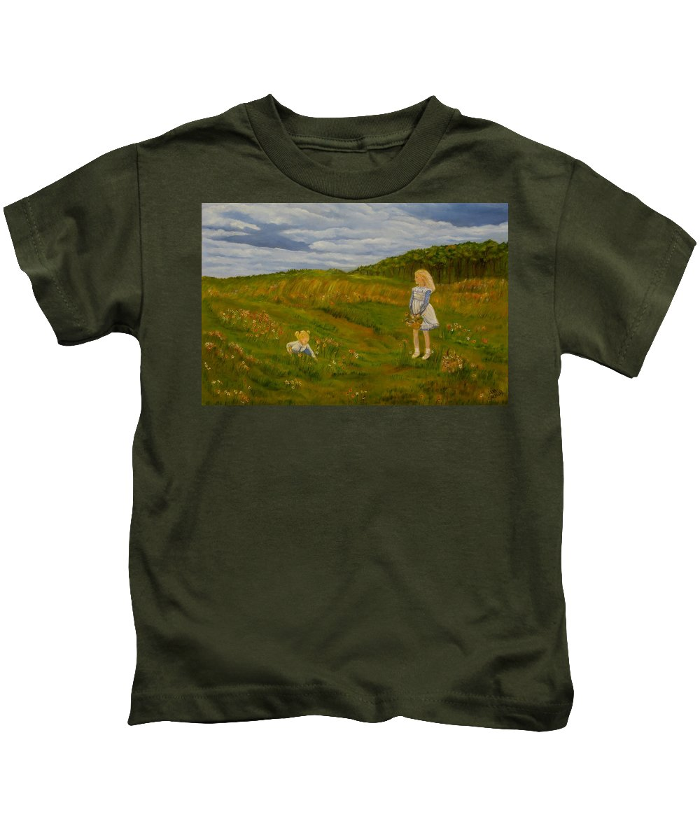 Landscape Painting Kids T-Shirt featuring the painting Picking Wildflowers by Laura Corebello