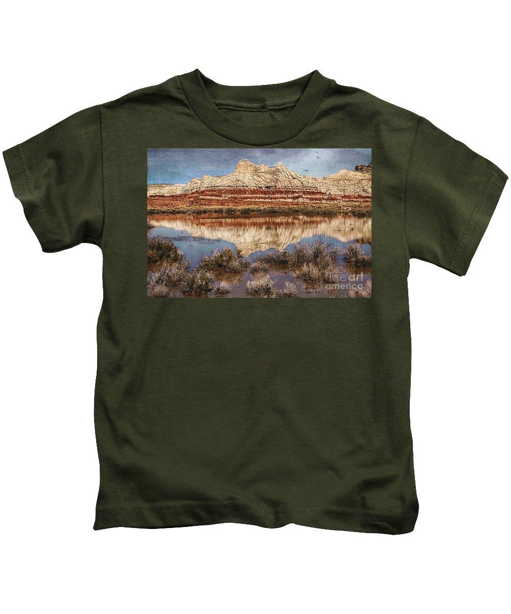 Picturesque Blue Canyon Formations Kids T-Shirt featuring the photograph Picturesque Blue Canyon Formations by Priscilla Burgers