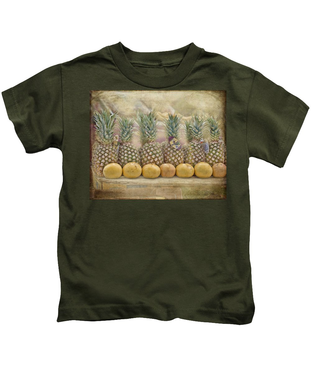 Fruit Kids T-Shirt featuring the photograph Pineapples And Grapefruit by TN Fairey