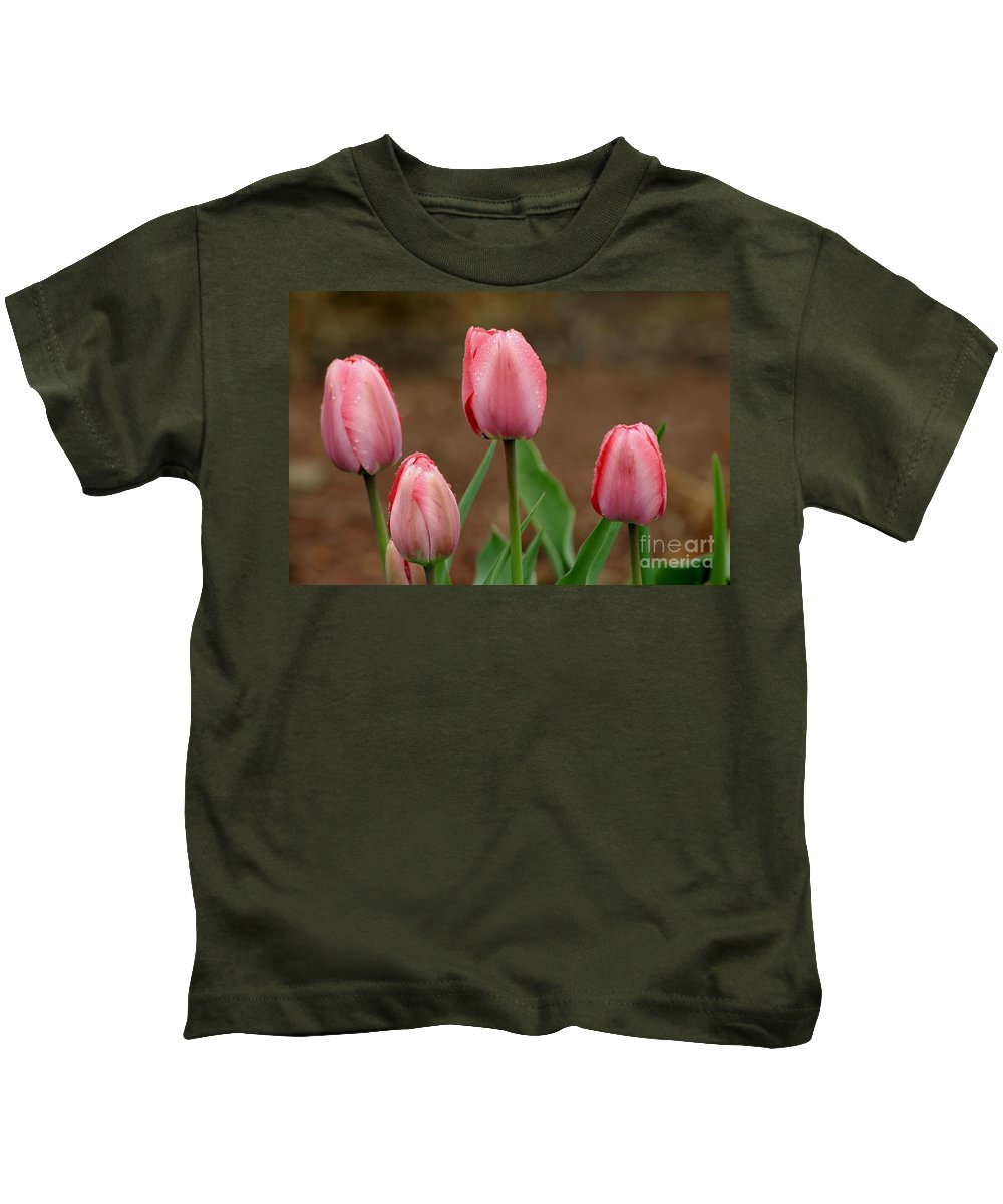 Tulips Kids T-Shirt featuring the photograph Pink And Perfect by Living Color Photography Lorraine Lynch