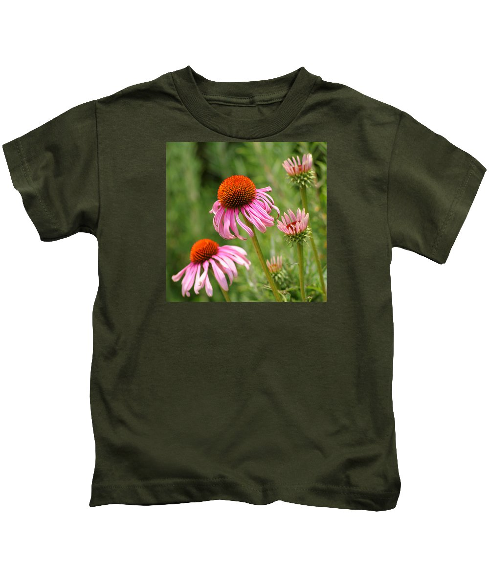 Cone Flower Kids T-Shirt featuring the photograph Pink Cone Flower by Art Block Collections