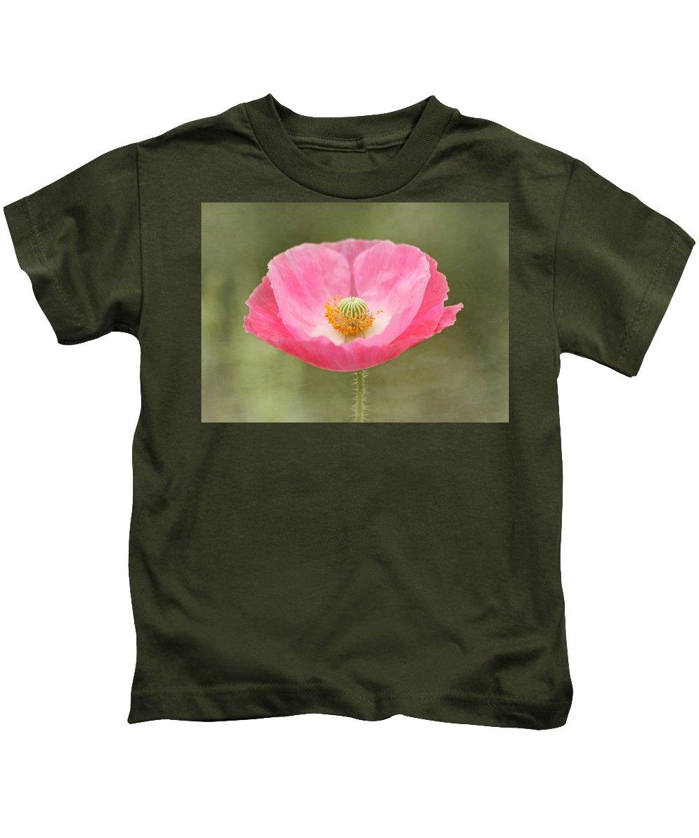 Poppy Kids T-Shirt featuring the photograph Pink Poppy Flower by Kim Hojnacki
