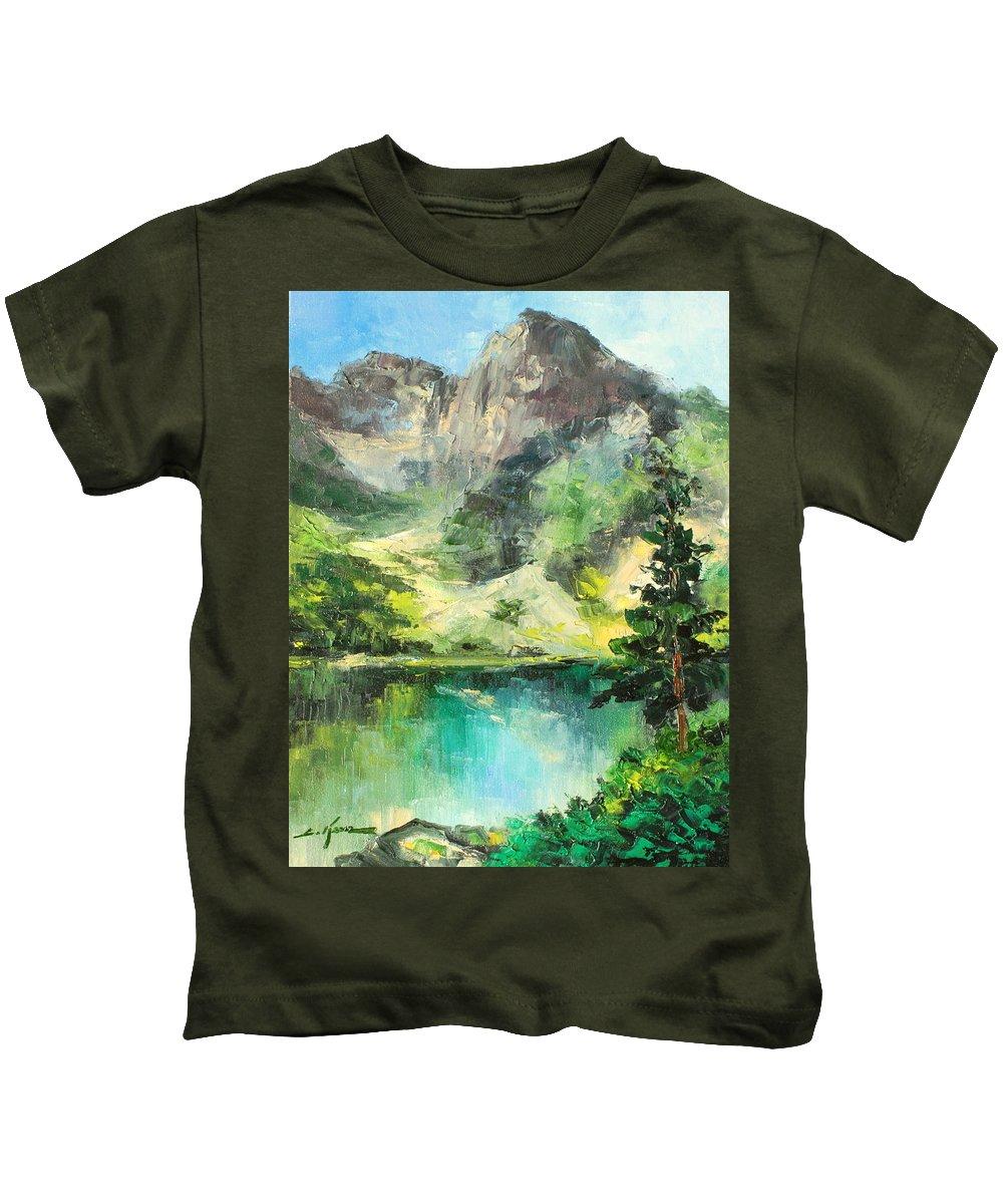 Mountain Kids T-Shirt featuring the painting Poland - Morskie Oko by Luke Karcz