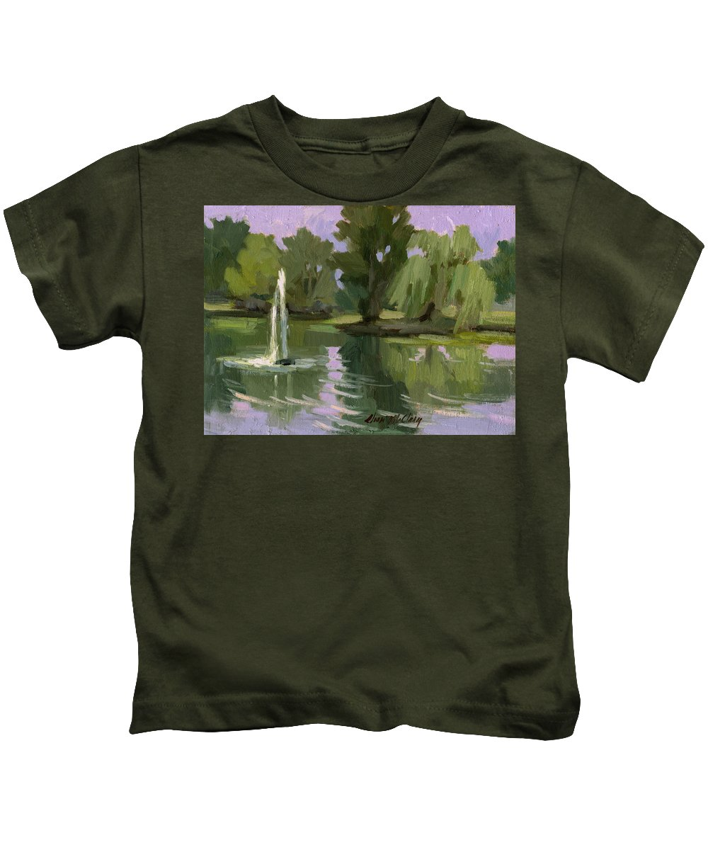 Fort Dent Kids T-Shirt featuring the painting Pond At Fort Dent Tukwilla by Diane McClary