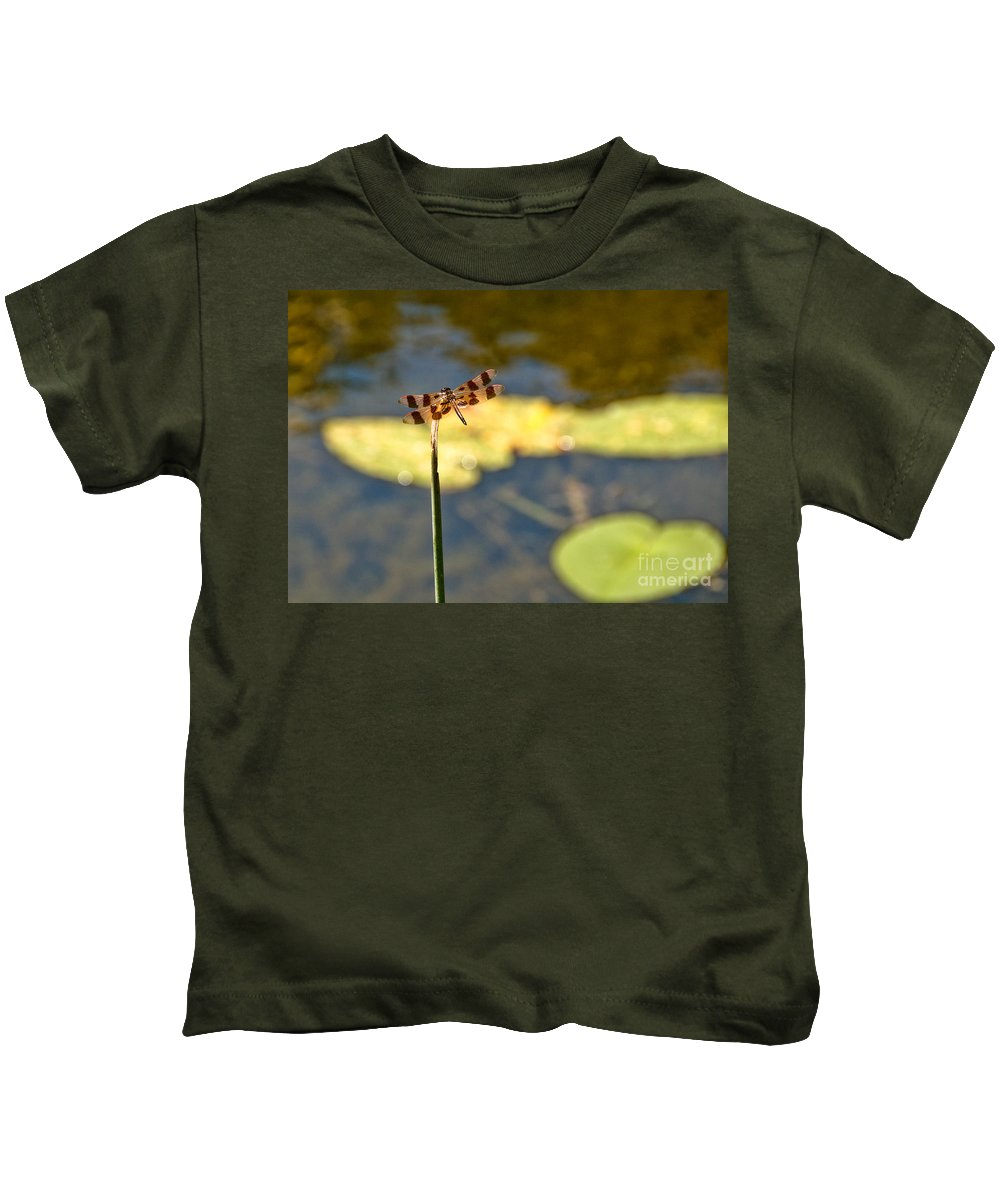 Dragonfly Kids T-Shirt featuring the photograph Pond Visitor by Cheryl Baxter