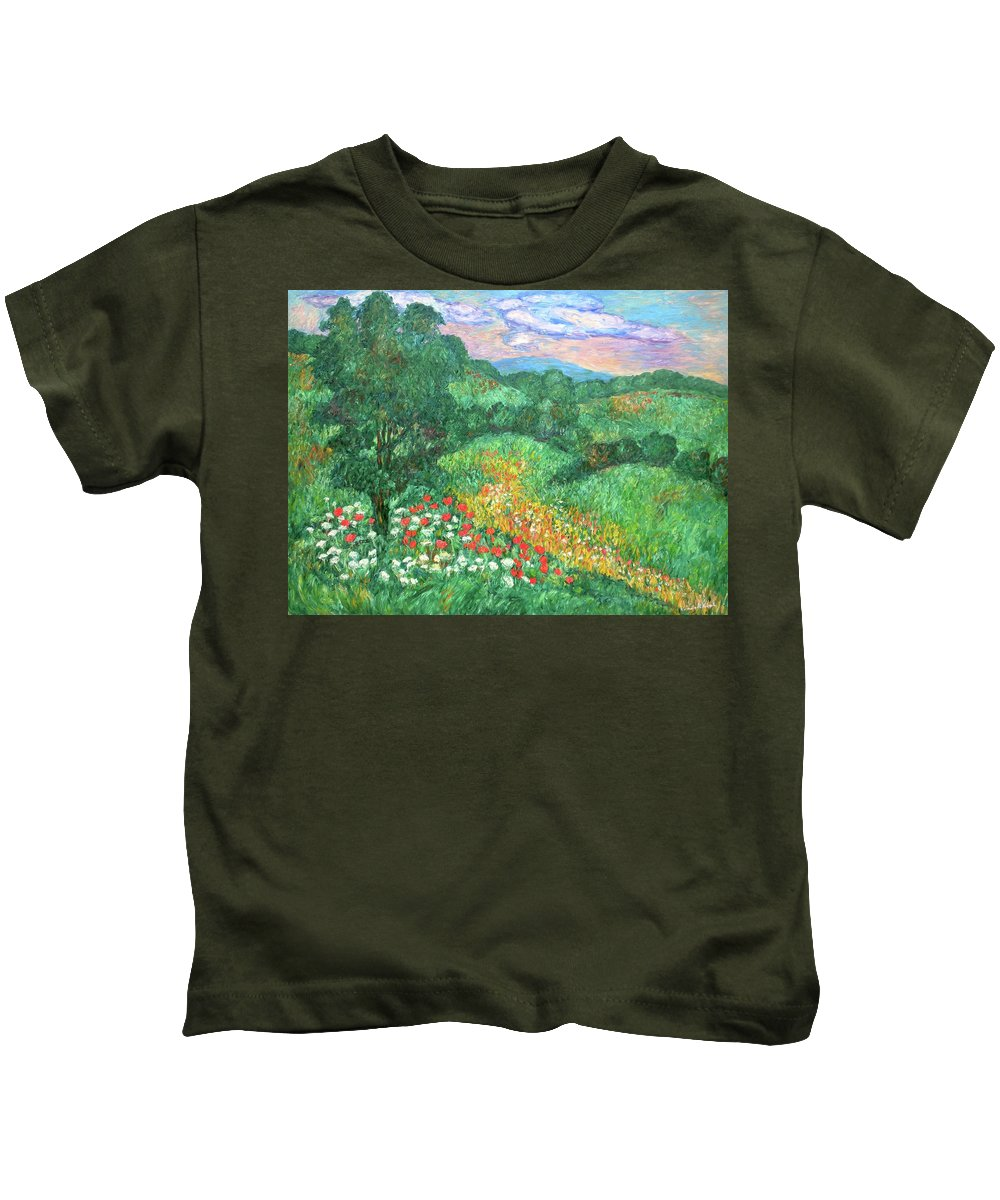 Landscapes Kids T-Shirt featuring the painting Poppies And Lace by Kendall Kessler