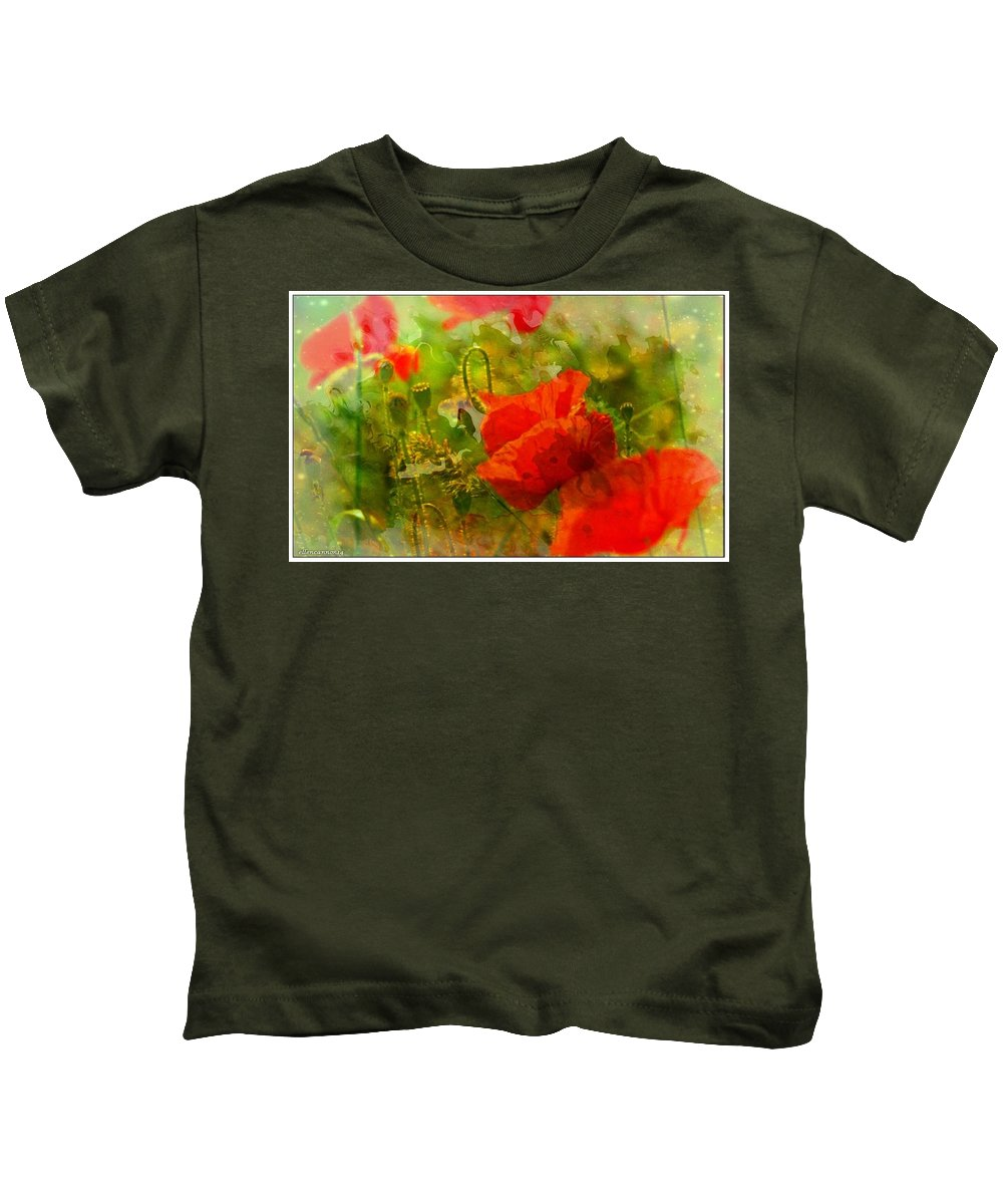 Poppies Kids T-Shirt featuring the digital art Poppin Poppies by Ellen Cannon