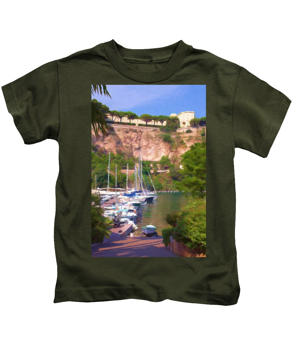 Blue Kids T-Shirt featuring the painting Port And Palace by Jeffrey Kolker