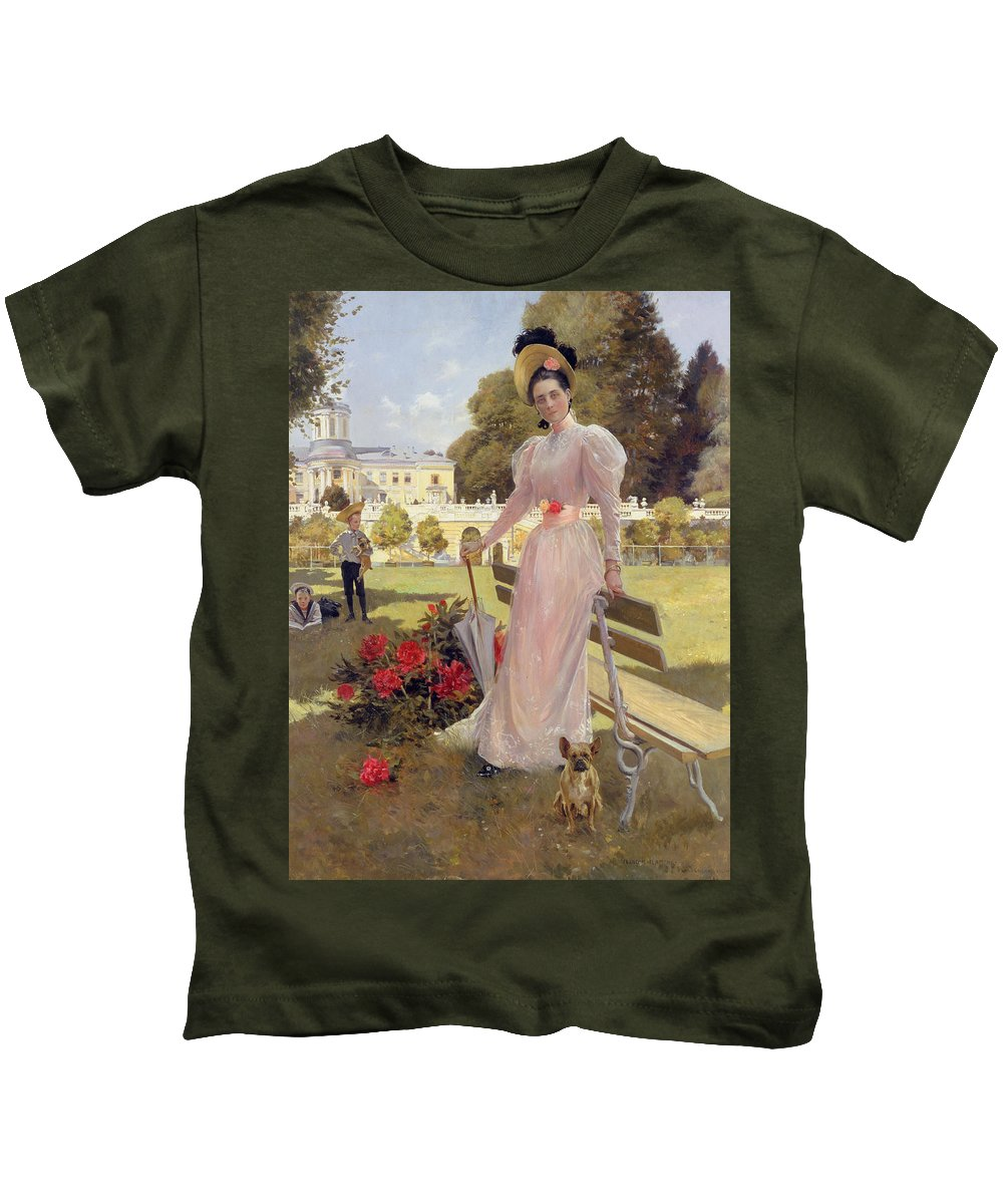 Female Kids T-Shirt featuring the painting Portrait Of Princess Z.n Yusupova With Her Two Sons At Arkhangelskoe by Francois Flameng