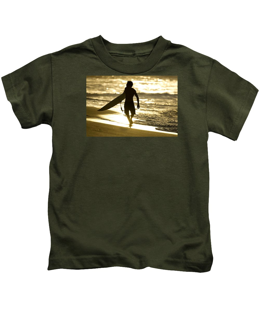 Surf North Shore Kids T-Shirt featuring the photograph Post Surf Gold by Sean Davey