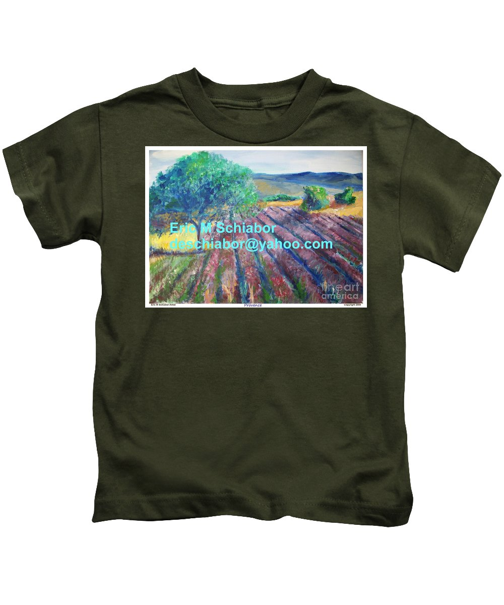 The Actor Kids T-Shirt featuring the painting Provence Lavender Field by Eric Schiabor