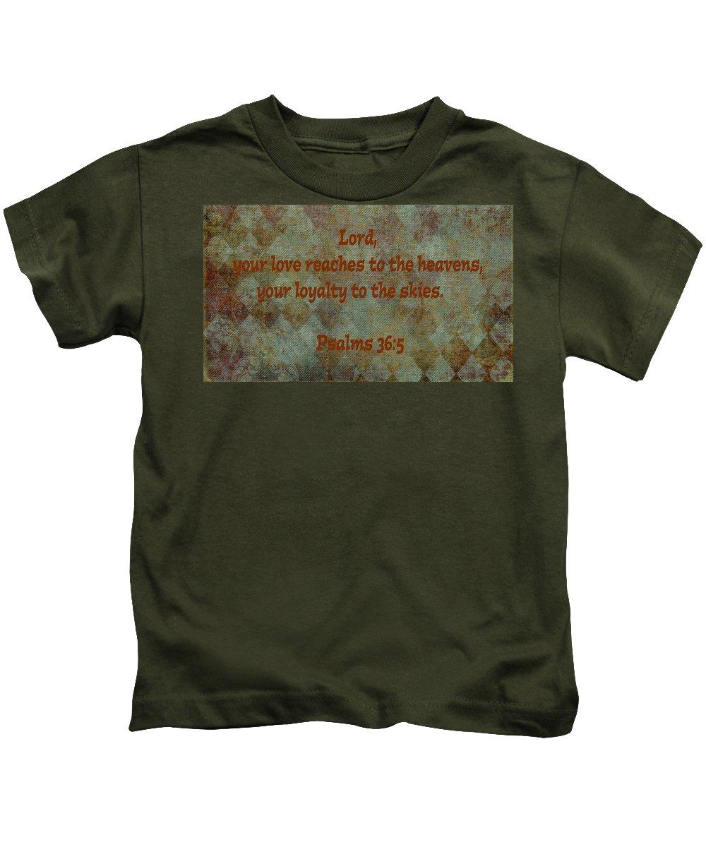 Bible Kids T-Shirt featuring the photograph Psalms 36 Verse 5 by Barb Dalton