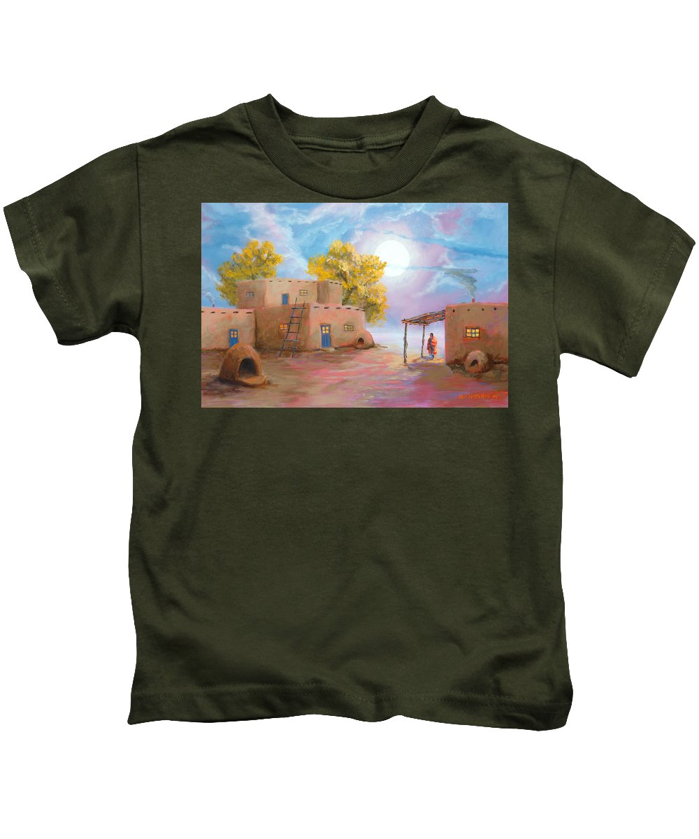 Pueblo Kids T-Shirt featuring the painting Pueblo De Las Lunas by Jerry McElroy