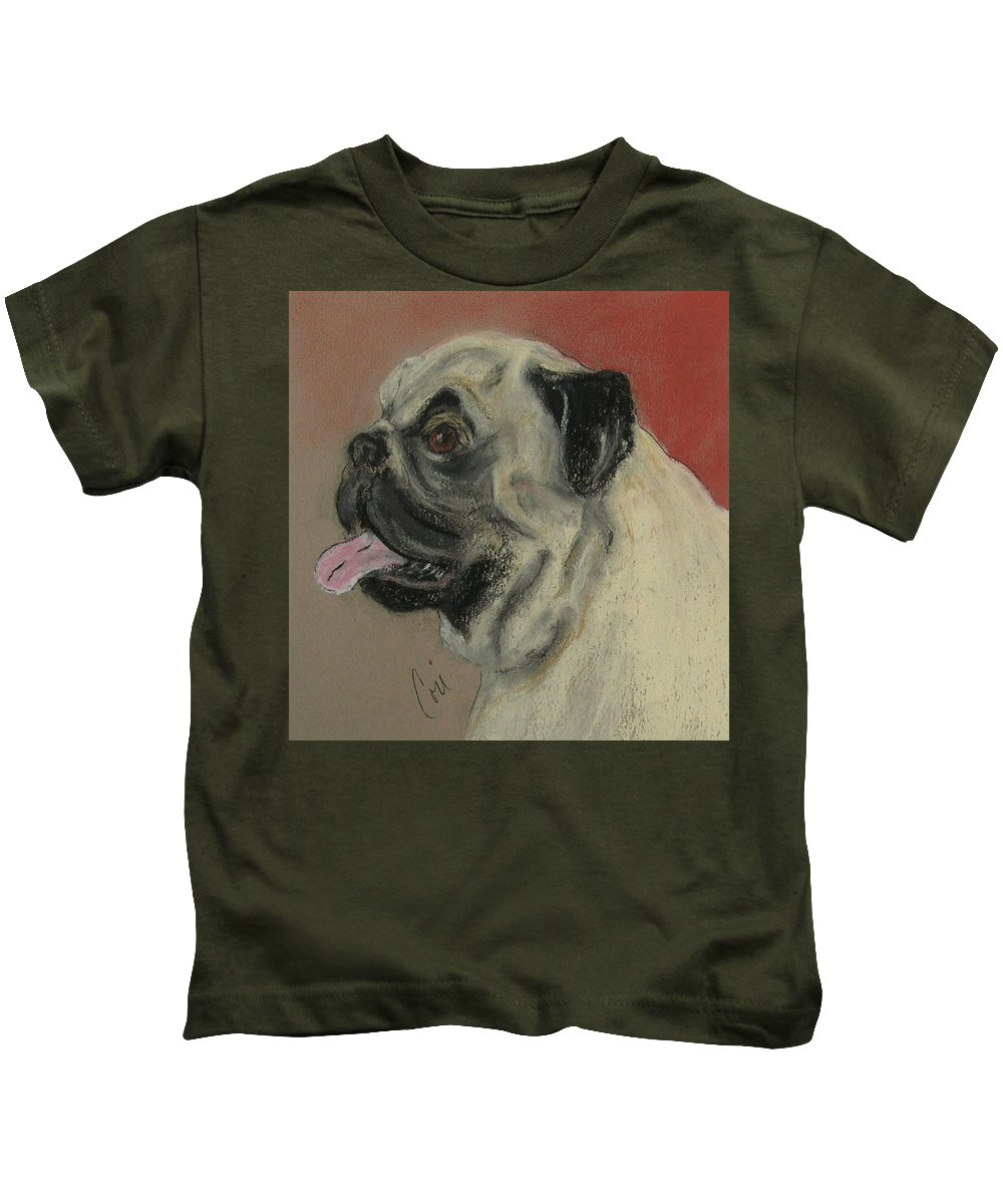 Pug Kids T-Shirt featuring the drawing Pugster by Cori Solomon