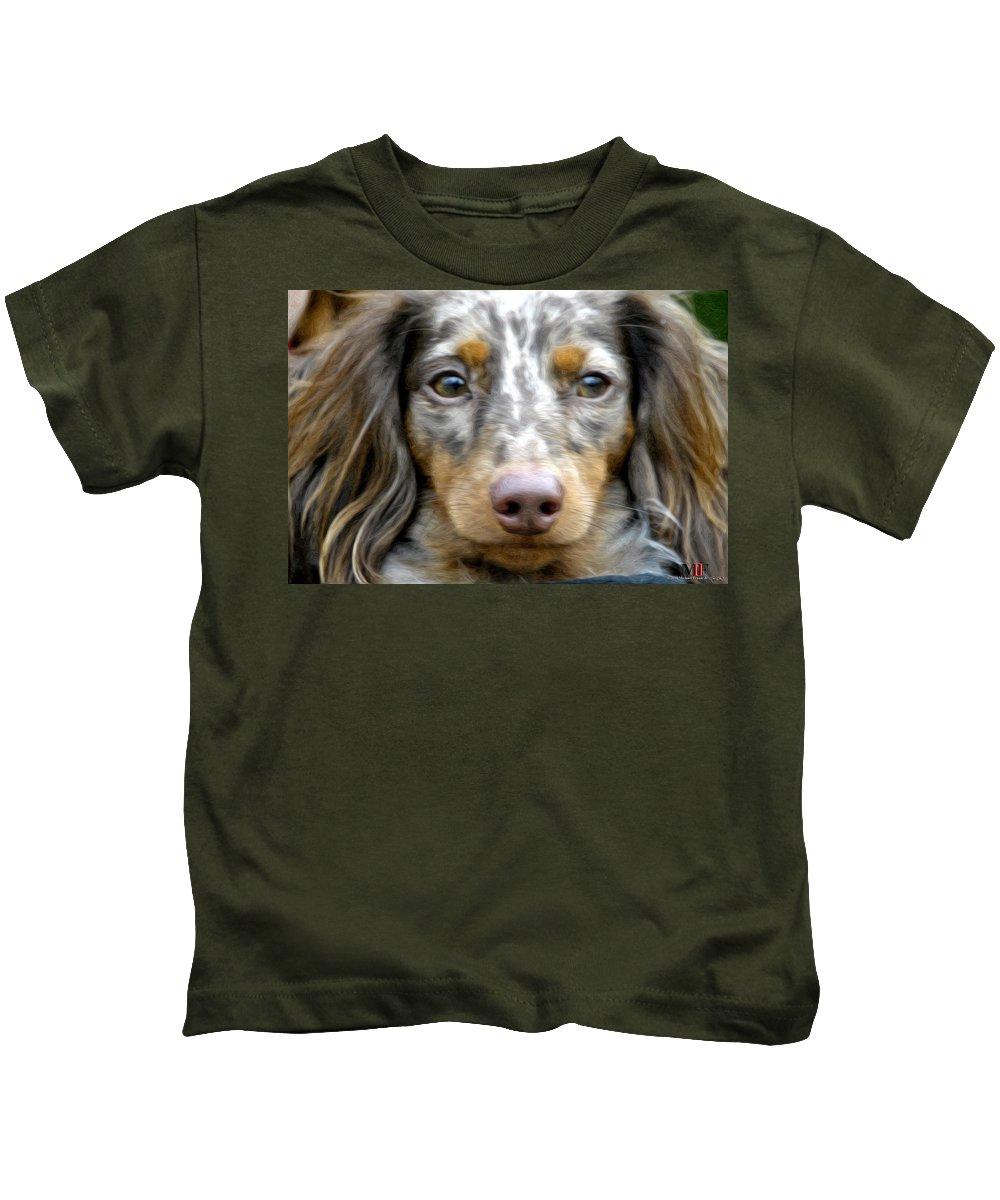 Michael Frank Jr Kids T-Shirt featuring the photograph Puppy Dog Eyes by Michael Frank Jr