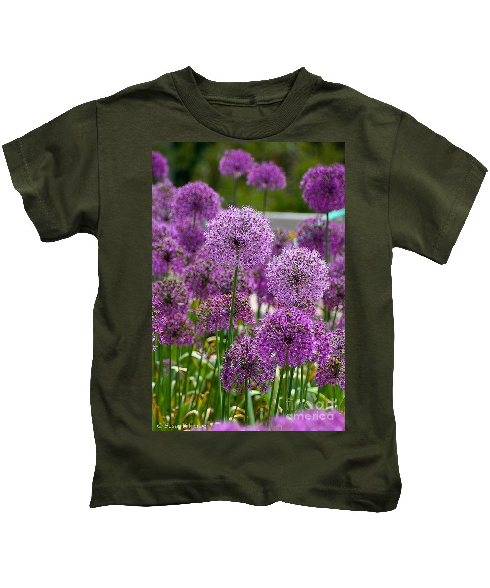 Flower Kids T-Shirt featuring the photograph Purple Pom Poms by Susan Herber