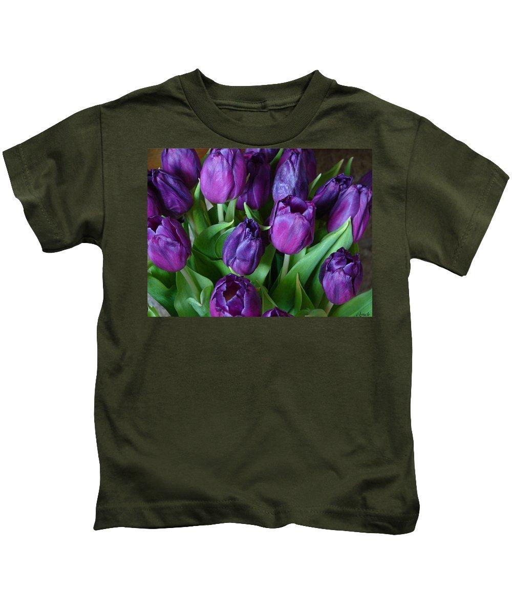 Purple Kids T-Shirt featuring the photograph Purple Tulips by Carol Lynch