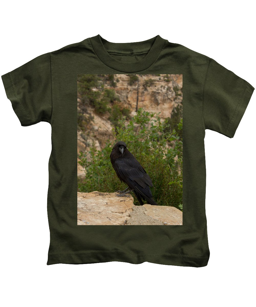 Grand Canyon Kids T-Shirt featuring the photograph Qouth The Raven Nevermore by Kathleen Odenthal