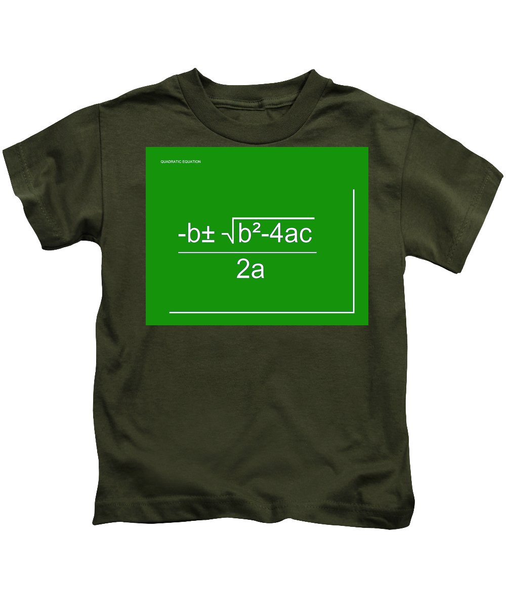 Featured Kids T-Shirt featuring the digital art Quadratic Equation Green-white by Paulette B Wright