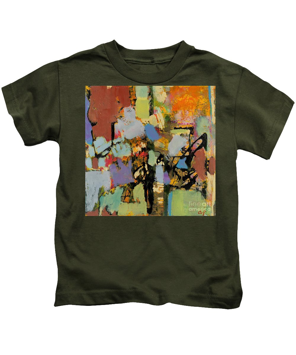 Landscape Kids T-Shirt featuring the painting Quick Racing by Allan P Friedlander