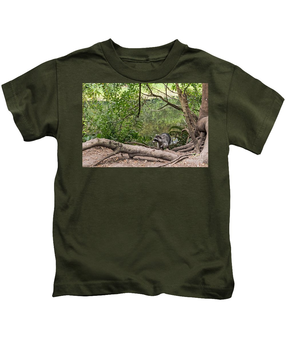 Animal Kids T-Shirt featuring the photograph Raccoon At The Lake by Kate Brown