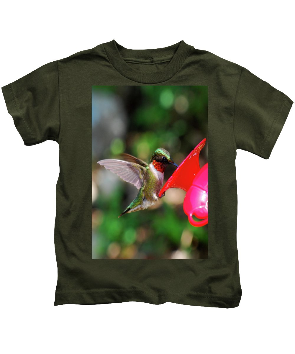Hummingbird Kids T-Shirt featuring the photograph Radiant Ruby by Lori Tambakis