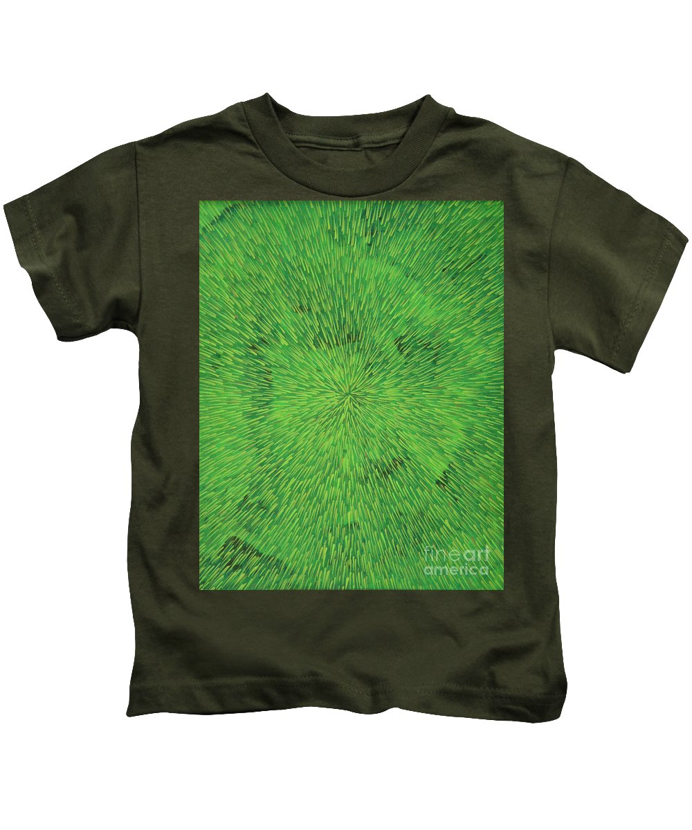 Abstract Kids T-Shirt featuring the painting Radiation Green by Dean Triolo