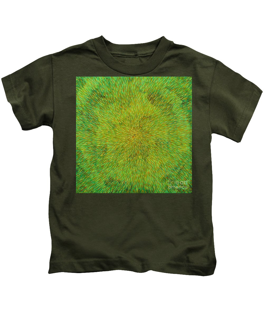 Abstract Kids T-Shirt featuring the painting Radiation With Green Yellow And Orange by Dean Triolo