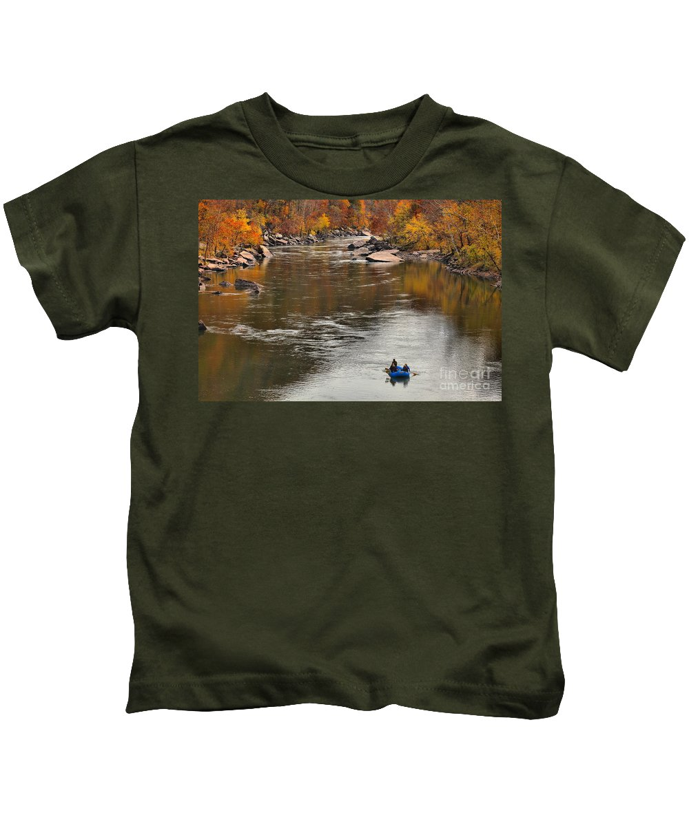 Rafting Kids T-Shirt featuring the photograph Rafting The New River by Adam Jewell