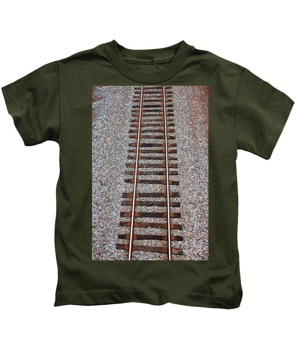 Reid Callaway Train And Track Kids T-Shirt featuring the photograph Railroad Track With Gravel Bed by Reid Callaway