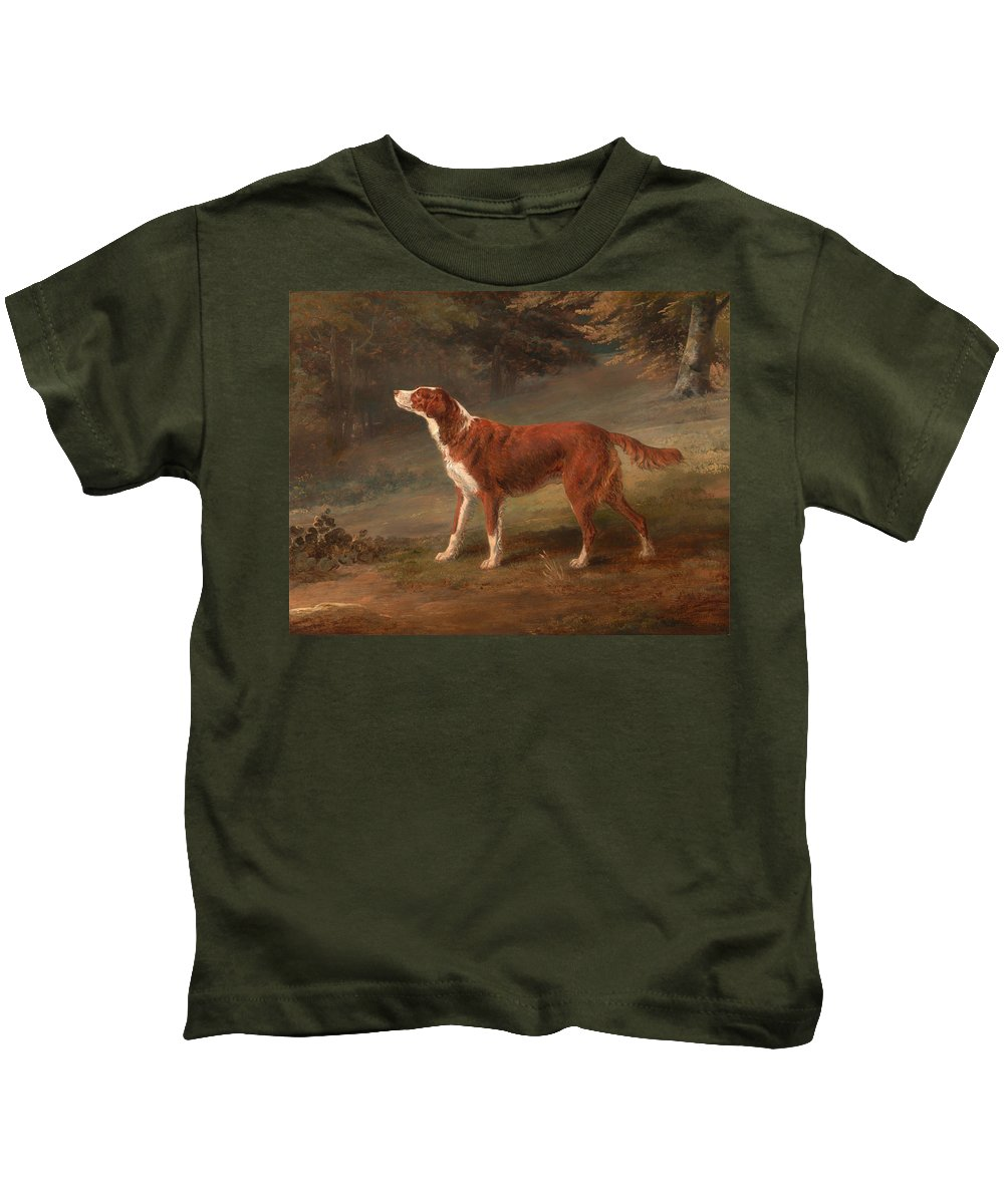 Dog Kids T-Shirt featuring the painting Ranger - A Settler by Mountain Dreams