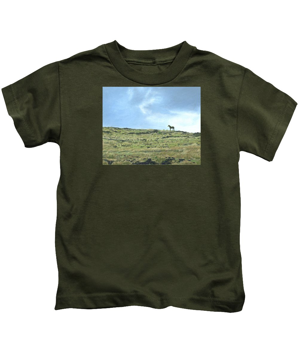 Easter Island Kids T-Shirt featuring the painting Rapa Nui Horse by Brent Charbonneau
