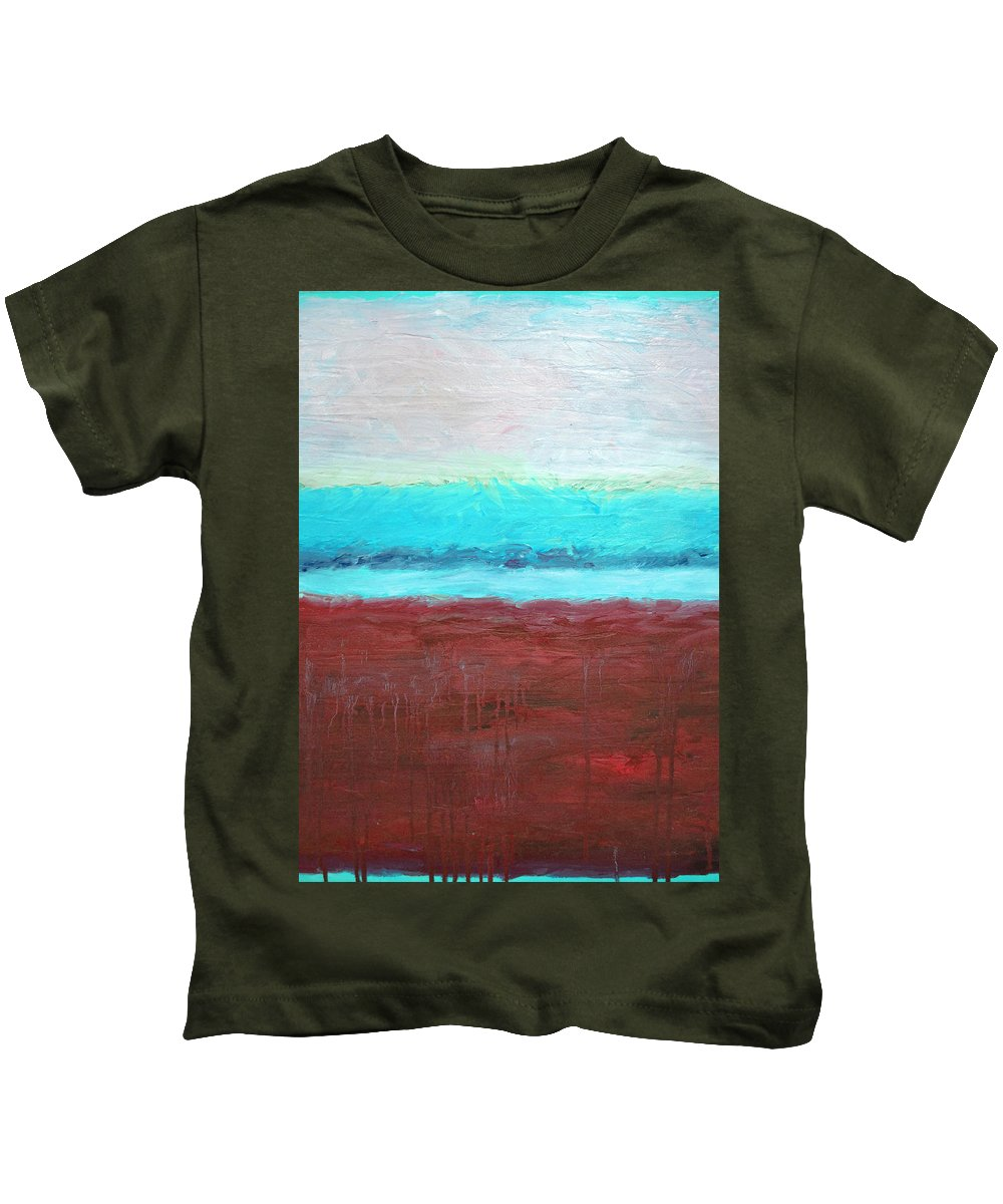 Abstract Kids T-Shirt featuring the painting Red And Aqua Get Married by Michelle Calkins