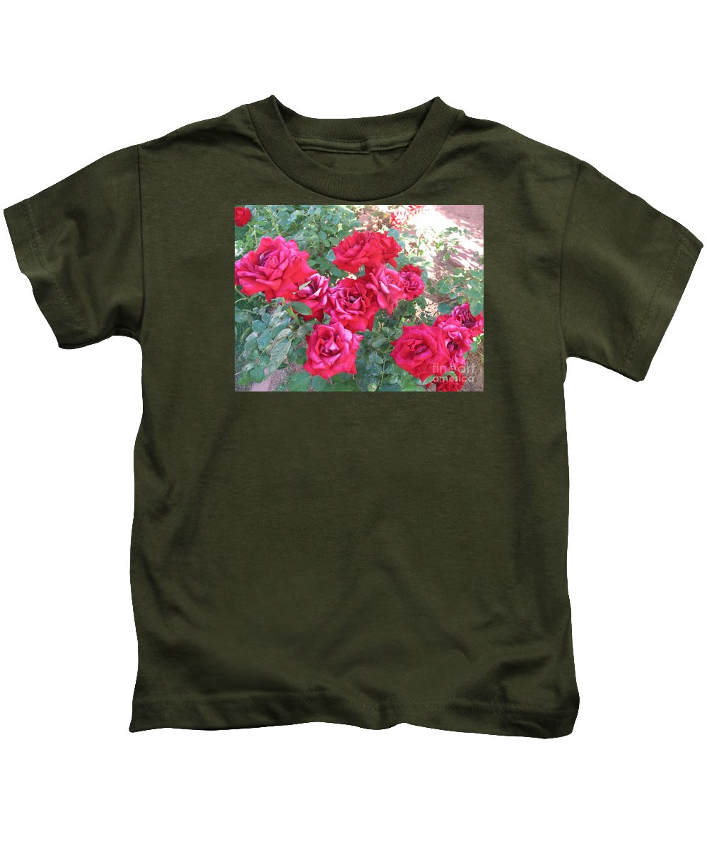 Reds Kids T-Shirt featuring the photograph Red And Pink Roses by Chrisann Ellis