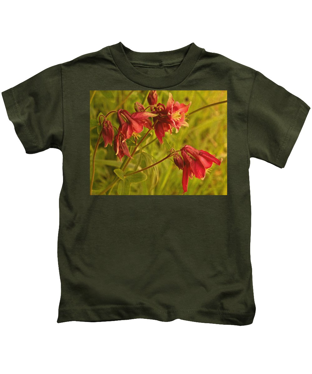 Red Columbine Kids T-Shirt featuring the photograph Red Columbine by Mel Hensley