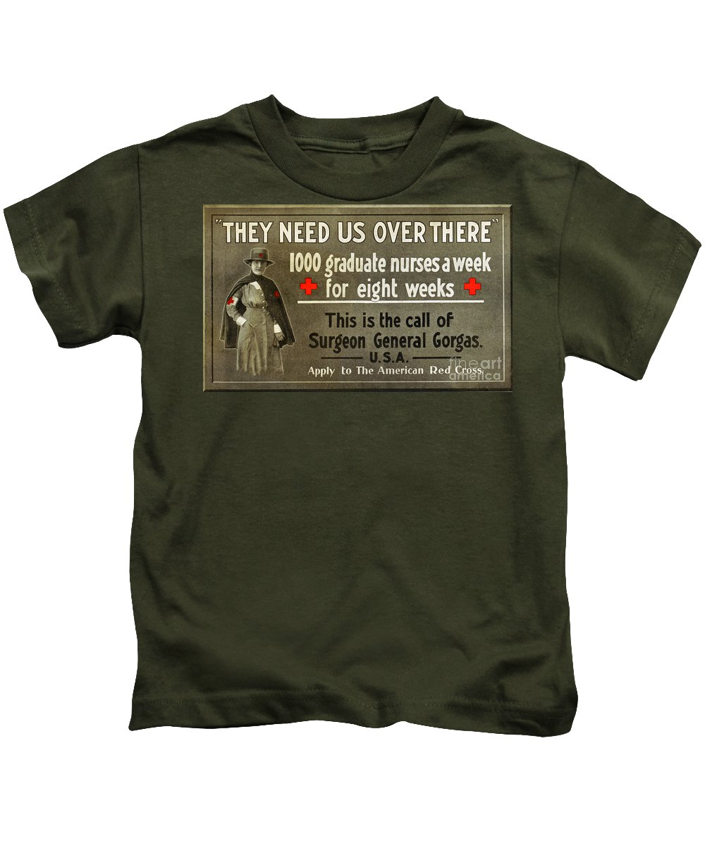 1914 Kids T-Shirt featuring the photograph Red Cross Poster, C1914 by Granger