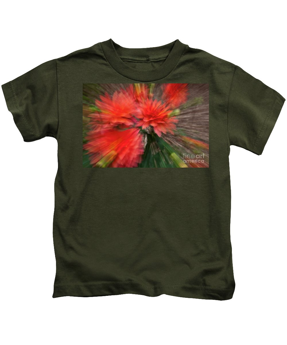 Heiko Kids T-Shirt featuring the photograph Red Explosion by Heiko Koehrer-Wagner